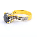 2 Ct Black Diamond Solitaire Ring With Diamond Accents - ZeeDiamonds