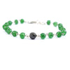 5 mm Emerald Gemstone Chain Bracelet With 7 mm Black Bead,  AAA Certified - ZeeDiamonds