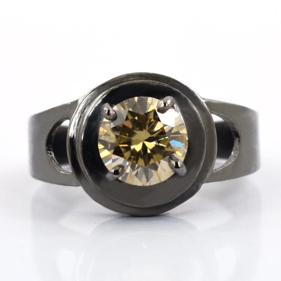 3Ct Champagne Diamond Solitaire Ring in Black Gold,Excellent Cut & Luster - ZeeDiamonds