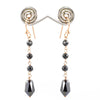 12.40 Ct Certified Black Diamonds Dangler Silver Earrings- Very Elegant