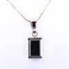 7.25 Ct Emerald Cut Black Diamond Solitaire Pendant in Prong Setting - ZeeDiamonds