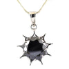 10.75 Ct Brilliant Cut Black Diamond Solitaire Sun Pendant in 925 Sterling Silver - ZeeDiamonds