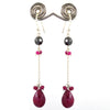 Certified Ruby Gemstone with Black Beads Dangler Earrings, Great Shine