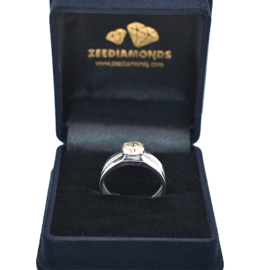 1-1.5 CT ROUND SHAPE CHAMPAGNE DIAMOND SOLITAIRE RING - ZeeDiamonds