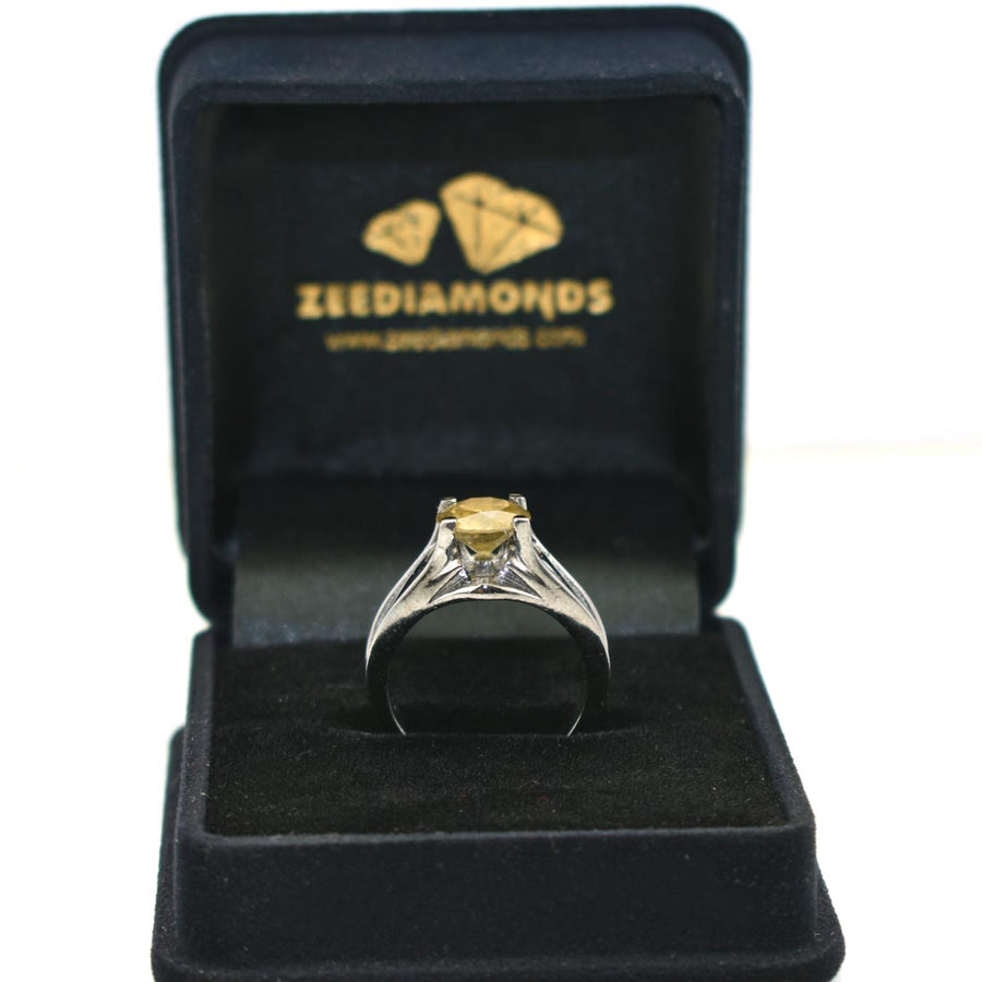 1-3 CT ROUND SHAPE CHAMPAGNE DIAMOND RING IN 925 SILVER - ZeeDiamonds