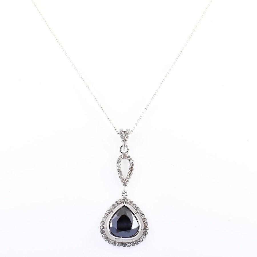 5 Ct Black Diamond Solitaire Accents Pendant, Great Shine & Beautiful Look - ZeeDiamonds