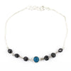 Certified Black Diamond Chain Bracelet With Turquoise Gemstone - ZeeDiamonds