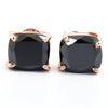 4.10 Ct AAA Certified Cushion Cut Black Diamond Solitaire Studs in 925 Silver