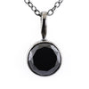 3 Ct Round Black Diamond Solitaire Pendant, 100% Certified