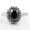 3 Ct Black Diamond Ring With Diamond Accents
