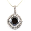 4.95 Ct Cushion Cut Black Diamond Designer Pendant with Diamond Accents - ZeeDiamonds