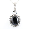 3.5 Ct Oval Faceted Black Diamond Pendant with White Diamond Accents