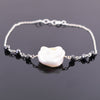 18.05 Ct Certified Black Diamond Chain Bracelet With Baroque Pearl