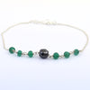4 mm Emerald Gemstone Chain Bracelet With 6 mm Black Bead,  AAA Certified - ZeeDiamonds