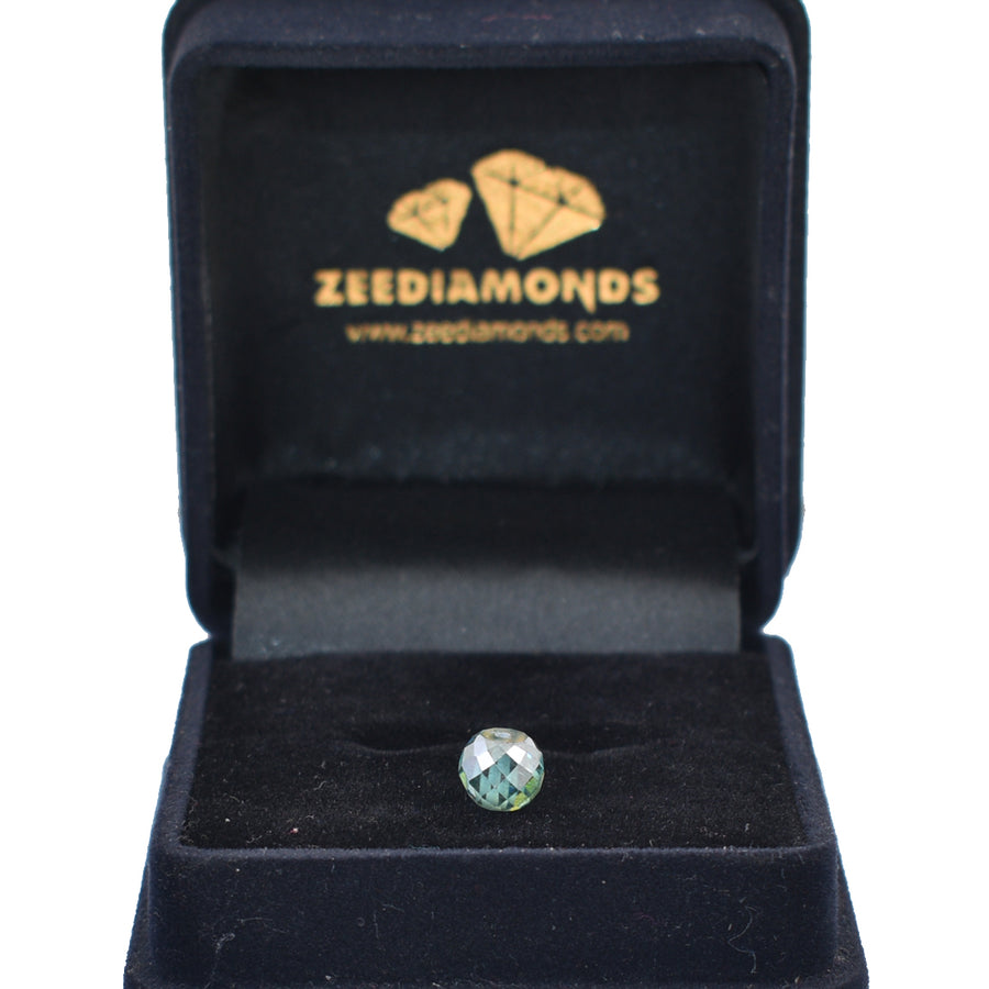 2.45 Ct Round Shape, 7 mm Blue diamond bead - ZeeDiamonds