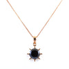 5.50 Ct Black Diamond Solitaire Sun Pendant, 100% Certified