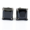 5.60 Ct Princess Cut Black Diamond Solitaire Studs in Prong Setting
