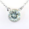3.05 Ct Certified Off-White Tinge of Blue Diamond Solitaire Pendant