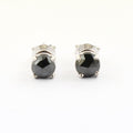 2.00 Ct Certified Rose Cut Black Diamond Studs In 18K White Gold - Great Gift! - ZeeDiamonds