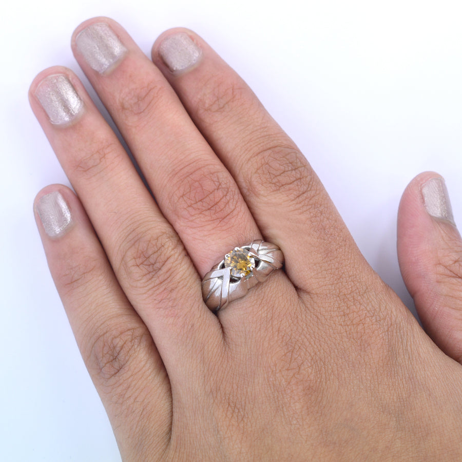 1 Ct Champagne Diamond Solitaire Women's Designer Ring - ZeeDiamonds