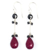 AAA Certified Fancy Ruby Gemstone with Black Diamond Dangler Earrings