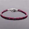 4 mm Ruby Gemstone Bracelet with Black Diamond Beads, Very Elegant - ZeeDiamonds