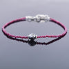 4 mm Ruby Gemstone Bracelet with 7 mm Black Diamond Bead, Certified - ZeeDiamonds