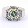 1.50 Ct Blue Diamond Men's Ring With A Halo Of VVS1 White Diamond Accents - ZeeDiamonds