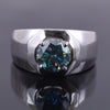 1 Ct AAA Certified Blue Diamond Solitaire Men's Ring, Great Luster