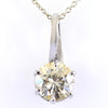 2.15 Ct AAA Certified Off-White Diamond Solitaire Pendant, Great Shine