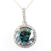 24.75 Ct Huge Blue Diamond Pendant with Diamond Accents, 100% Certified - ZeeDiamonds