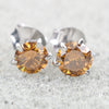 1.8 Ct Champagne Diamond Solitaire Studs in 6 Prong Setting - ZeeDiamonds