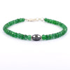Certified 5 mm Emerald Gemstone Bracelet With Drum Shape Black Diamond Bead - ZeeDiamonds