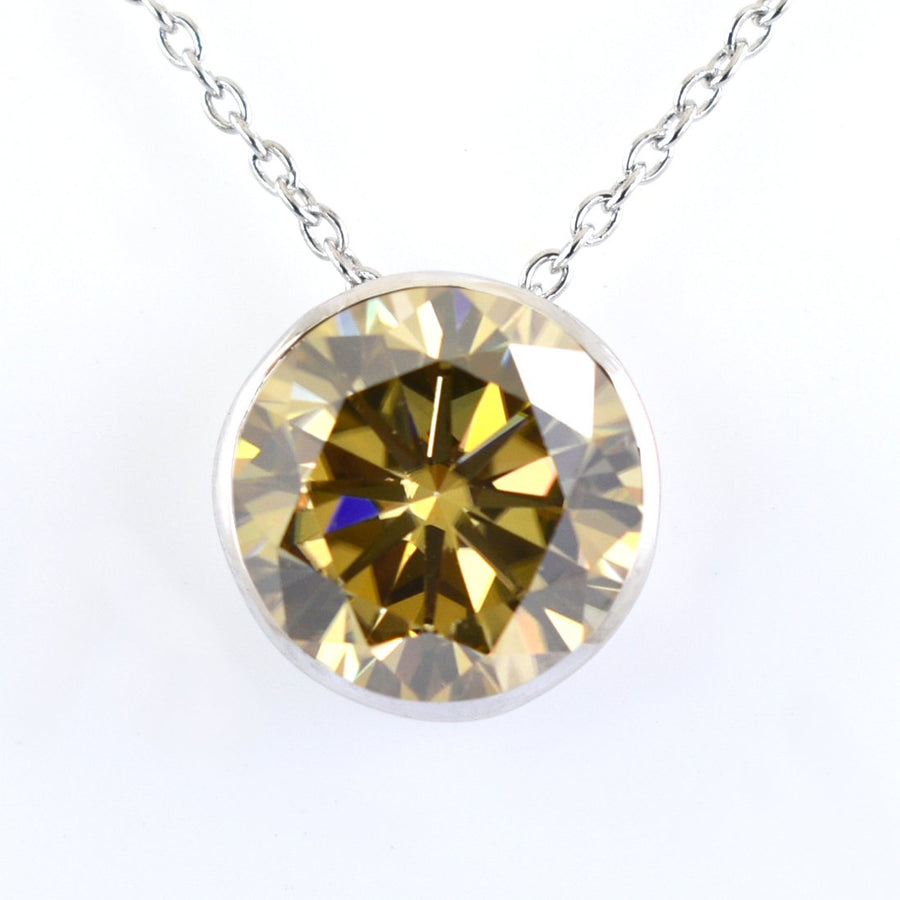 6.85 Ct Certified Champagne Diamond Solitaire Pendant, Great Shine