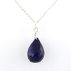 Drop Shape Blue Sapphire Briolite Necklace In 925 Sterling Silver! - ZeeDiamonds