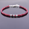 Certified 4-5 mm Ruby Gemstone Bracelet with Designer Silver Beads - ZeeDiamonds
