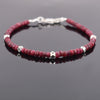 4-5 mm Ruby Gemstone Bracelet with Designer Silver Beads, AAA Certified - ZeeDiamonds