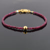 4-5 mm Ruby Gemstone Bracelet with Golden Foil Bead, 100% Certified - ZeeDiamonds