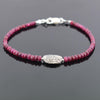 32 Ct Cabochon Ruby Gemstone Bracelet with Designer Silver Bead