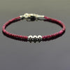 4-5 mm Ruby Gemstone Bracelet with Designer Silver Beads, Great Style - ZeeDiamonds
