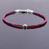 Certified 4-5 mm Ruby Gemstone Bracelet with Designer Silver Bead - ZeeDiamonds