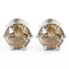 1.6 Ct Champagne Diamond Solitaire Studs in 6 Prong Setting - ZeeDiamonds