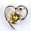 1.05 Ct Certified, Champagne Diamond Heart Pendant, Gift For Girlfriend