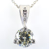 2 Ct AAA Certified Off-White Diamond Pendant with Diamond Accents