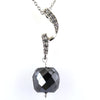 10.65 Ct, Drum Cut Black Diamond Beautiful Silver Pendant For Gift - ZeeDiamonds