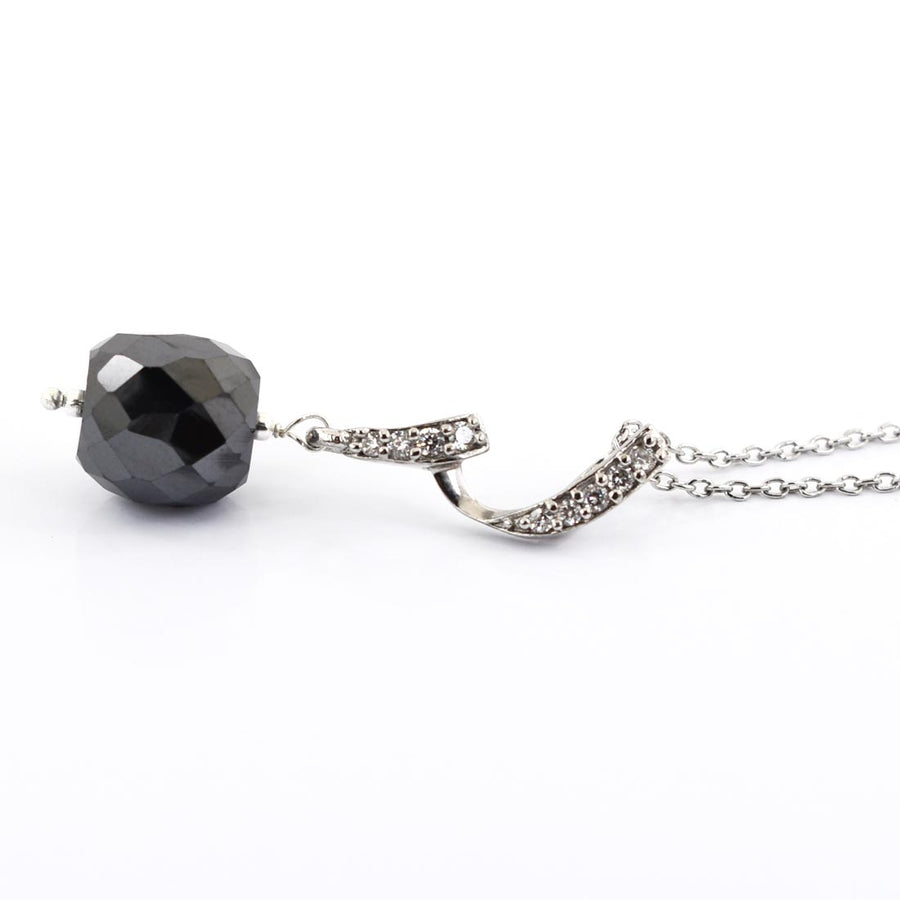 8 mm Black Diamond bead Pendant with Diamond Accents