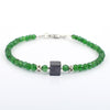 5 mm Emerald Gemstone Bracelet With 7 mm Black Diamond Bead - ZeeDiamonds