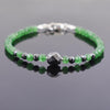 AAA Certified Emerald Gemstone Bracelet With Black Diamond Bead - ZeeDiamonds