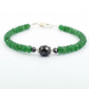 Certified 5mm Emerald Gemstone Bracelet With Black Diamond Bead - ZeeDiamonds