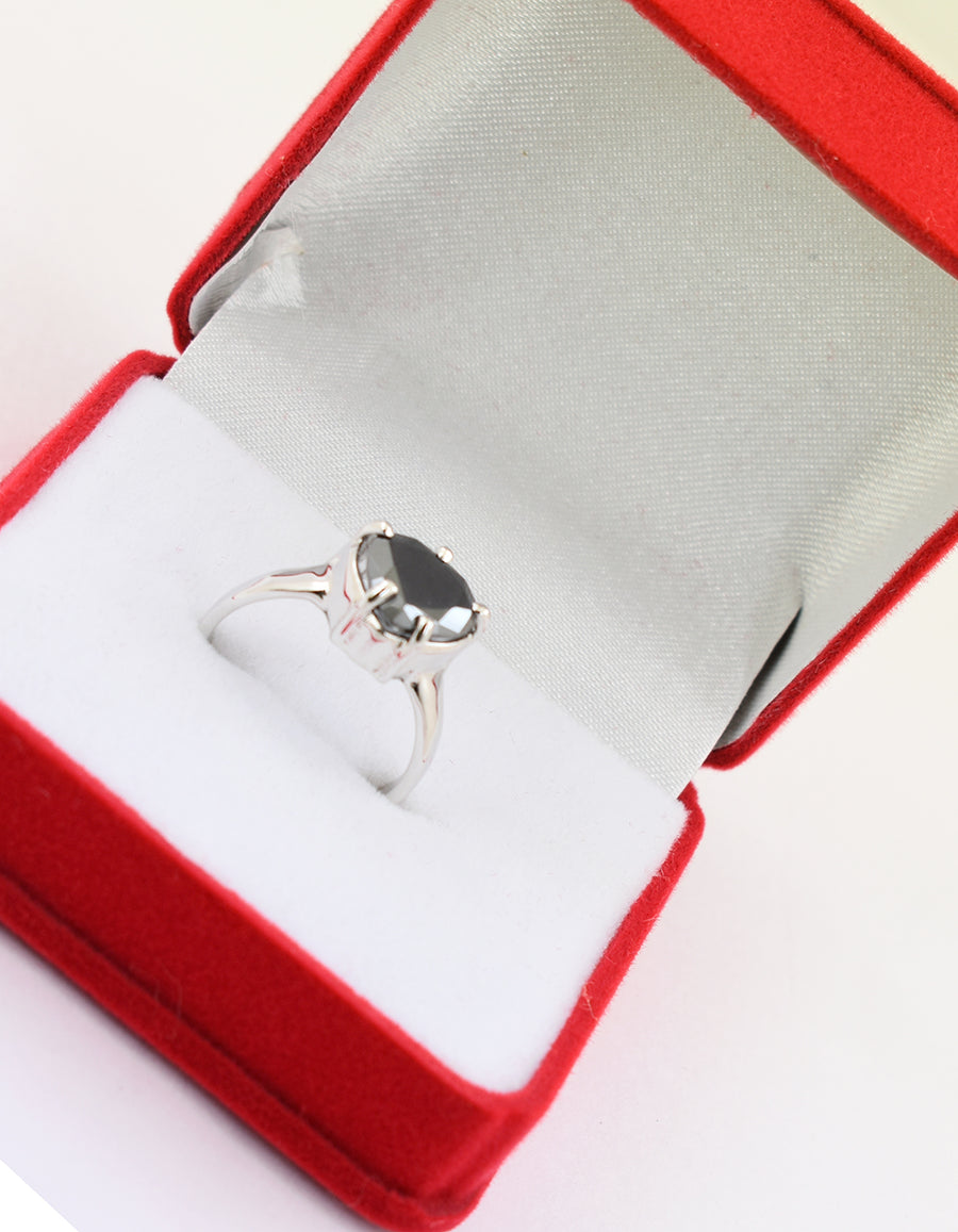 2 Cts Heart Shape Black Diamond Beautiful Ring, For Women & Girl's - ZeeDiamonds